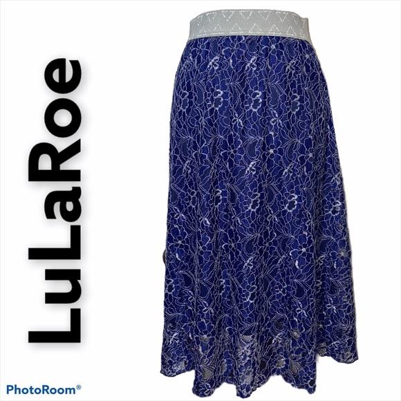 LuLaRoe Blue and Sliver Lola Skirt Sz XL Like New